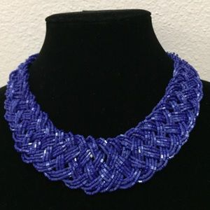 Braided Beads Necklace Blue